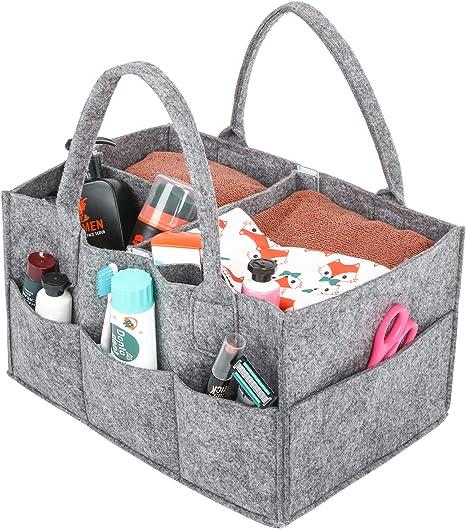 Dark Grey Portable Felt Baby Nappy Caddy Storage Organizer Tote Nursery Storage Bin Baby Wipes Bag Diaper Caddy Organizer