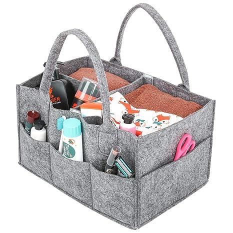 Umi. Essentials Cesta de pañales, organizador portátil de toallitas para bebé, pañalera con compartimentos ajustables, gris