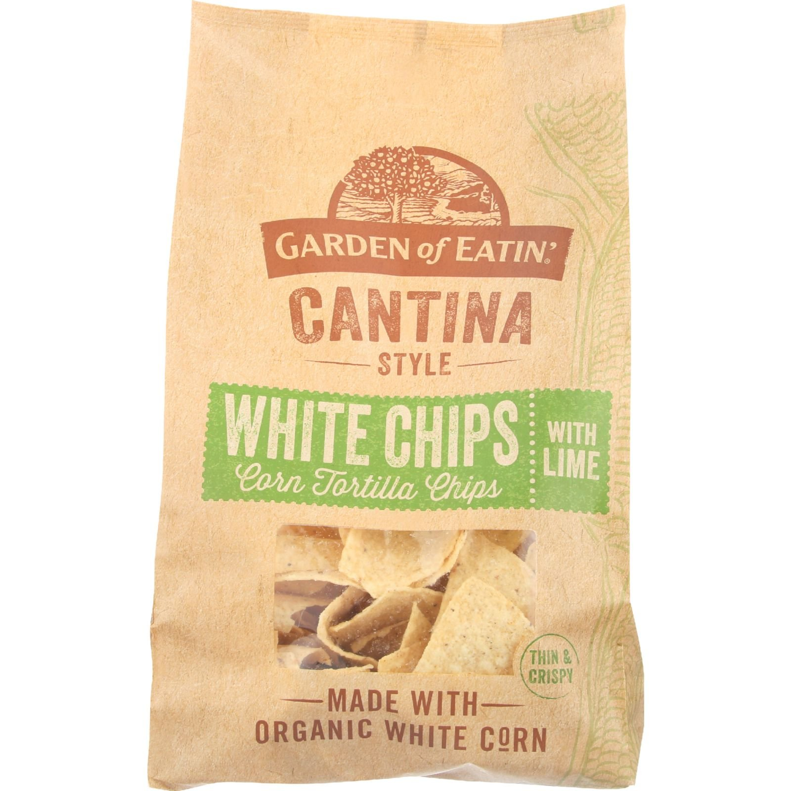 Garden Of Eatin Tortilla Chips - Organic - Cantina Style White Chips with Lime - White Corn - 13 oz - case of 10 - Gluten Free