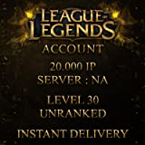 League of Legends Account NA Level 30 20.000+ BE Unranked Unverified Email