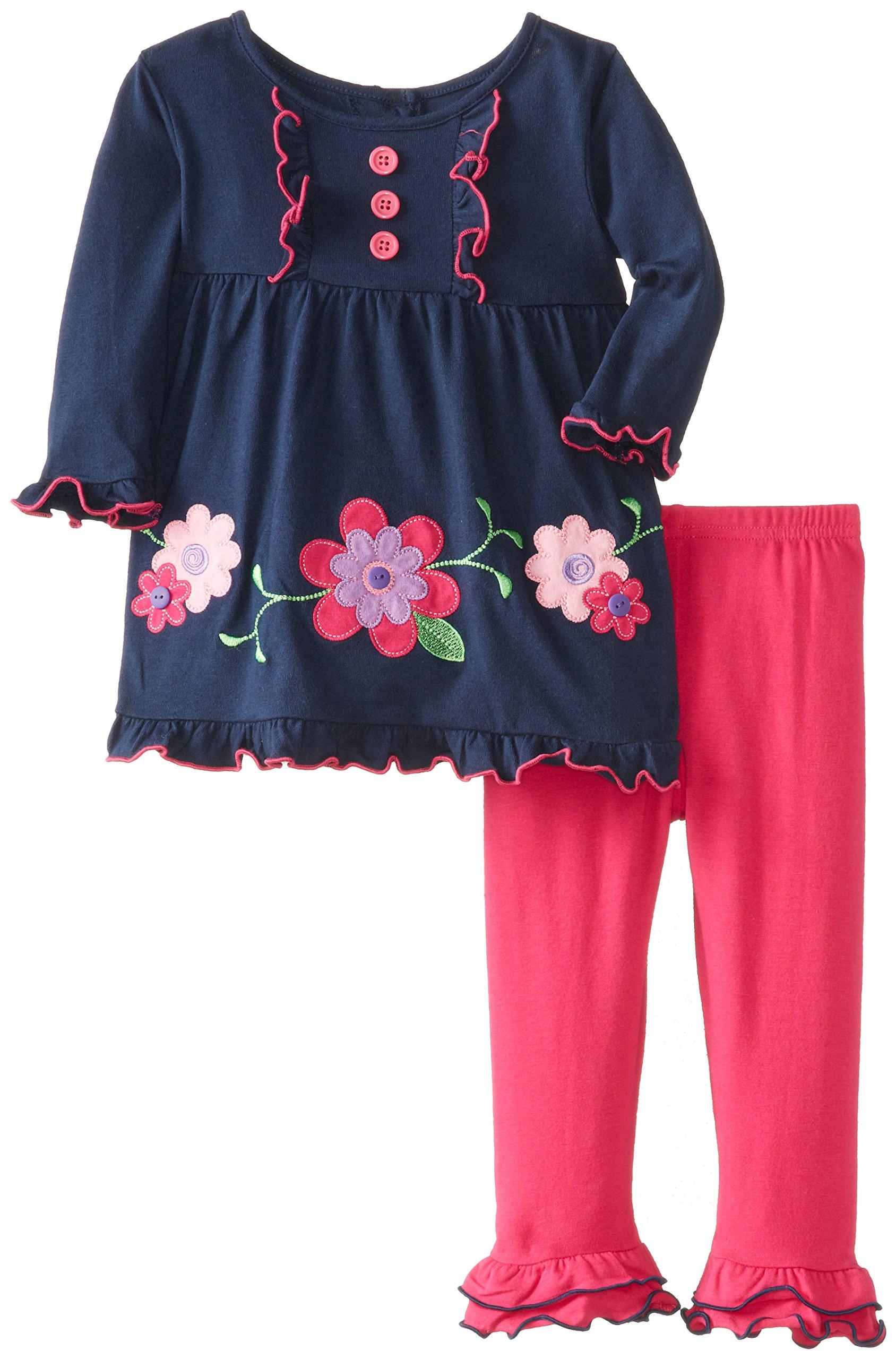 Good Lad Baby Girls' Flower Applique Legging Set, Navy, 12 Months