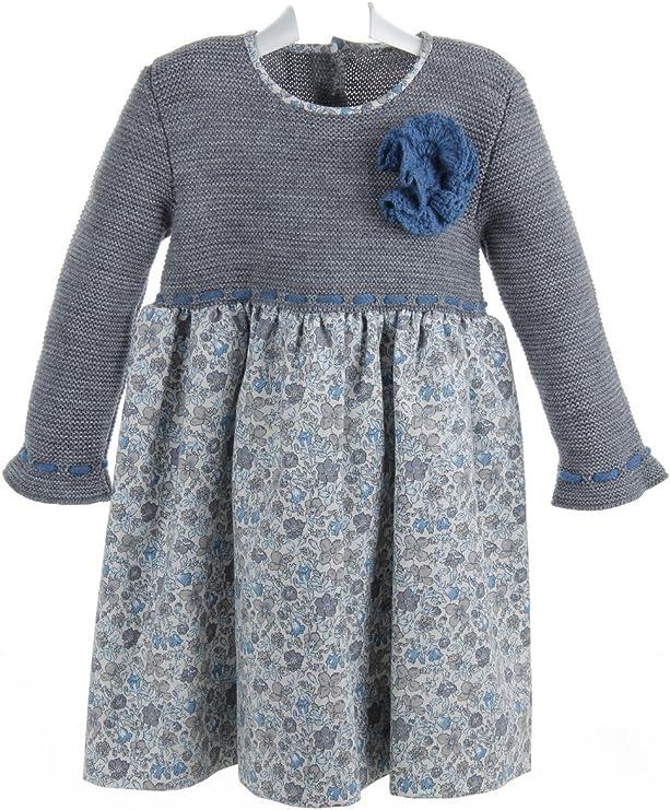 Vestido de niña de lana gris con falda estampada - 2 años, Gris y ...