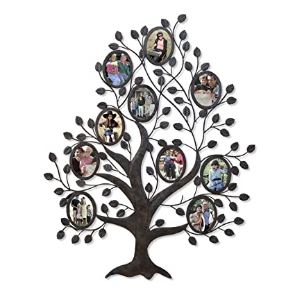 family tree wall hanging pattern asense decorative 10 oval openings 45 by 55 inch black metal and glass family tree wall amazoncom