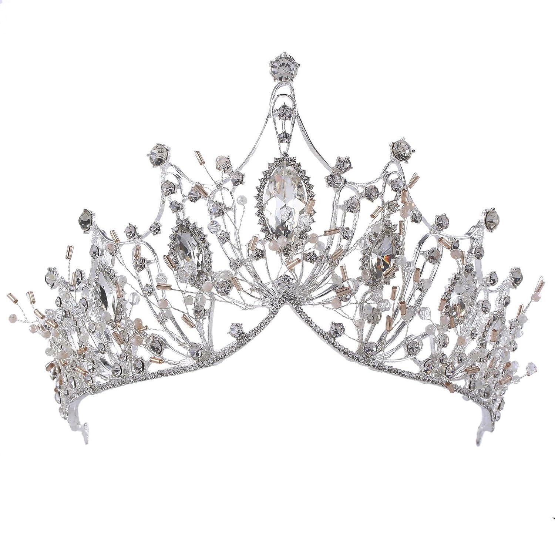 herzii New cristal à la main couronne mariée mariage accessoires de cheveux robe de soirée de mariage bijoux WGHG00023