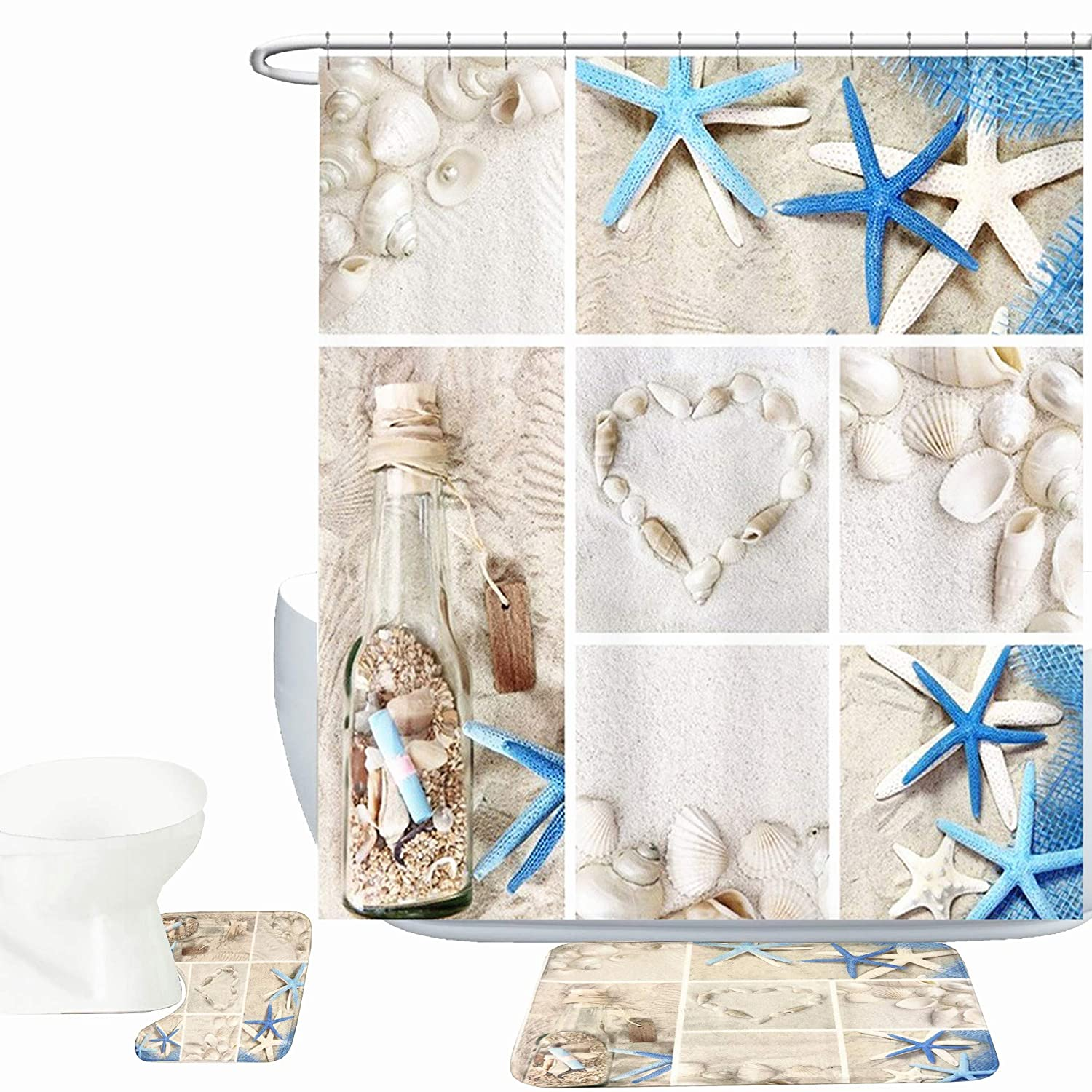 Bearbae 15 Piece Blue Starfish Seashell Starfish Bath Mat Set Shower Curtain Set Wishing Bottle Love Stone Print Bathroom Mat Contour Mat Fabric Shower Curtain with 12 hooks