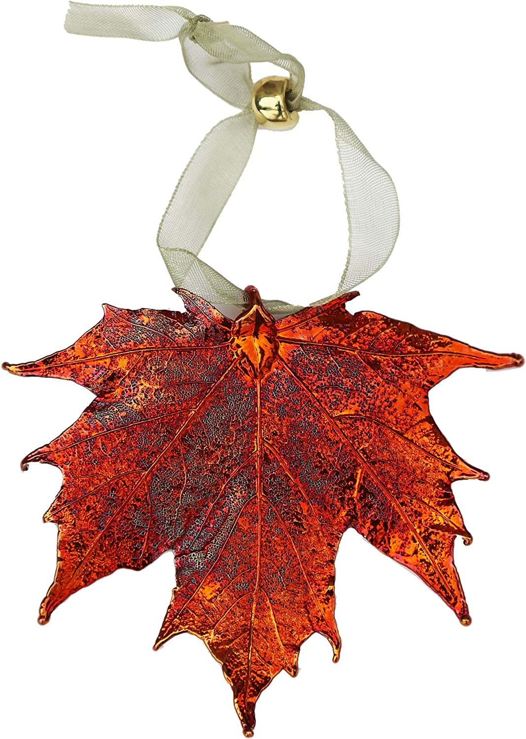amazon com curious designs leaf ornament iridescent sugar maple copper dipped real leaves jewelry curious designs leaf ornament iridescent sugar maple copper dipped real leaves