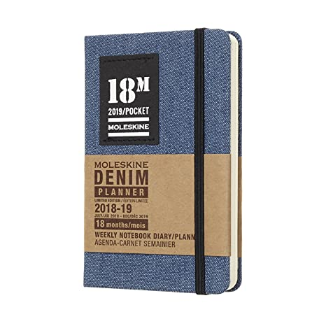 Moleskine Denim Hard Cover 2018/2019 18 Month Weekly Planner, Pocket Size (3.5