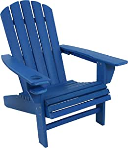 Sunnydaze All-Weather Outdoor Adirondack Chair with Drink Holder - Heavy Duty HDPE Weatherproof Patio Chair - Ideal for Lawn, Garden or Around The Firepit - Blue