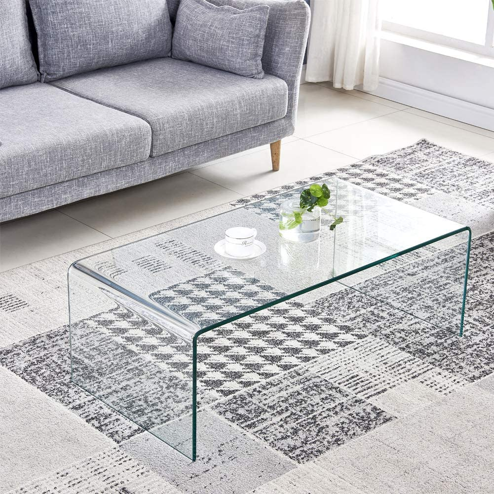 Easy to Clean and Safe Rounded Edges Modern Decor Clear Coffee Table for Living Room SMARTYK 1//2 Inch Thicken Tempered Glass Coffee Tables