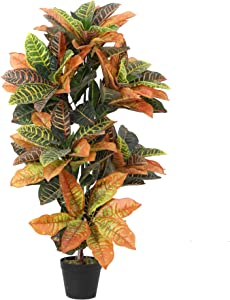 Momoplant Artificial Croton Plant, Faux Fiddle Leaf fig Tree,Artificial Trees for Home Decor,Floor Plant,Front Porch Plants with Plastic Pot, Faux Ficus Lyrata Tree,39inch
