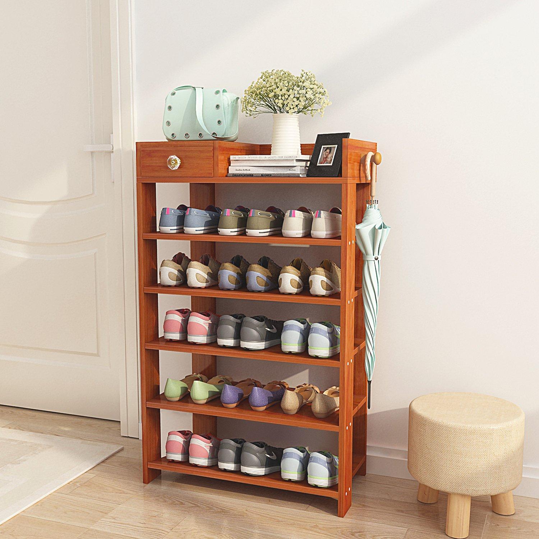 DL furniture - Espresso Finish Wood Storage Shoe | 6 Shelves Storage Rack