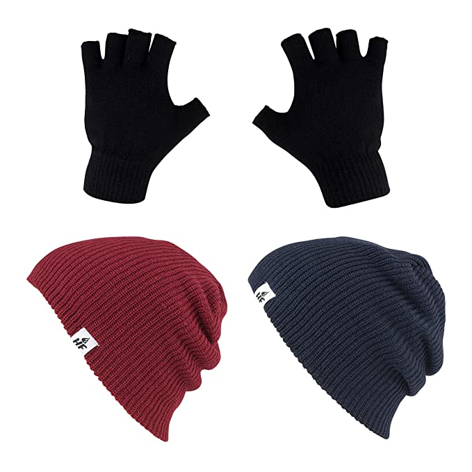 e78cb37b469 HOT FEET Unisex Winter Beanies Value 2 Pack caps w Pair Fingerless Gloves  one Size