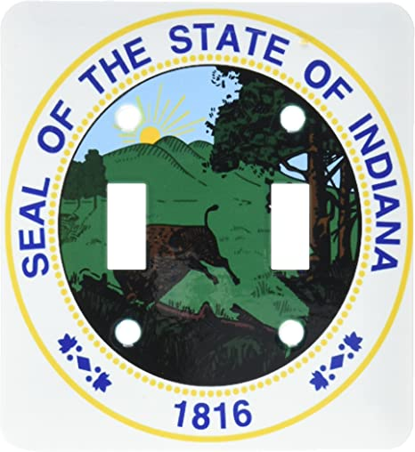 3drose Lsp 55424 2 State Seal Of Indiana Pad Us Double Toggle Switch Switch Plates Amazon Com