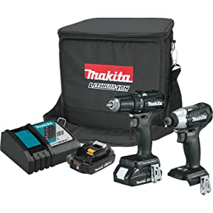 Makita CX200RB 18V LXT Lithium-Ion Sub-Compact Brushless Cordless 2-Pc. Combo Kit (2.0Ah), Black