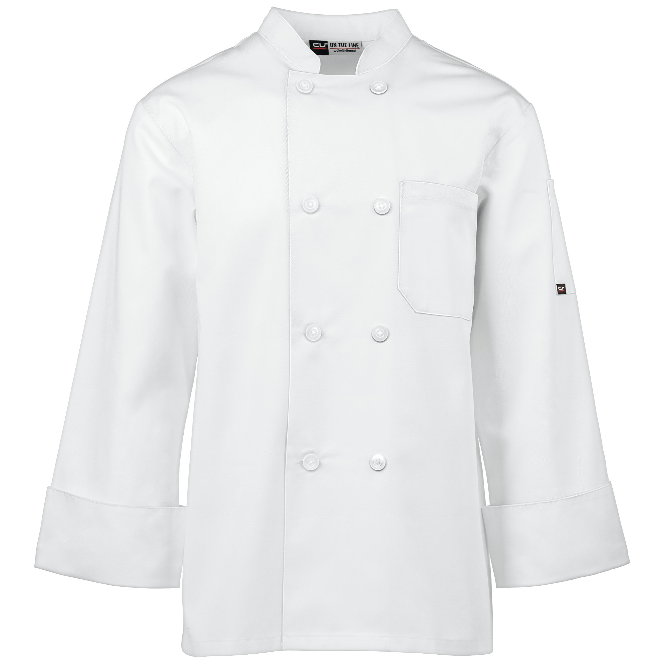Unisex Long Sleeve Chef Coat/Double Breasted/Plastic Button Reversible Front Closure (S-2X, 2 Colors) (White, Medium) by On The Line (Image #2)