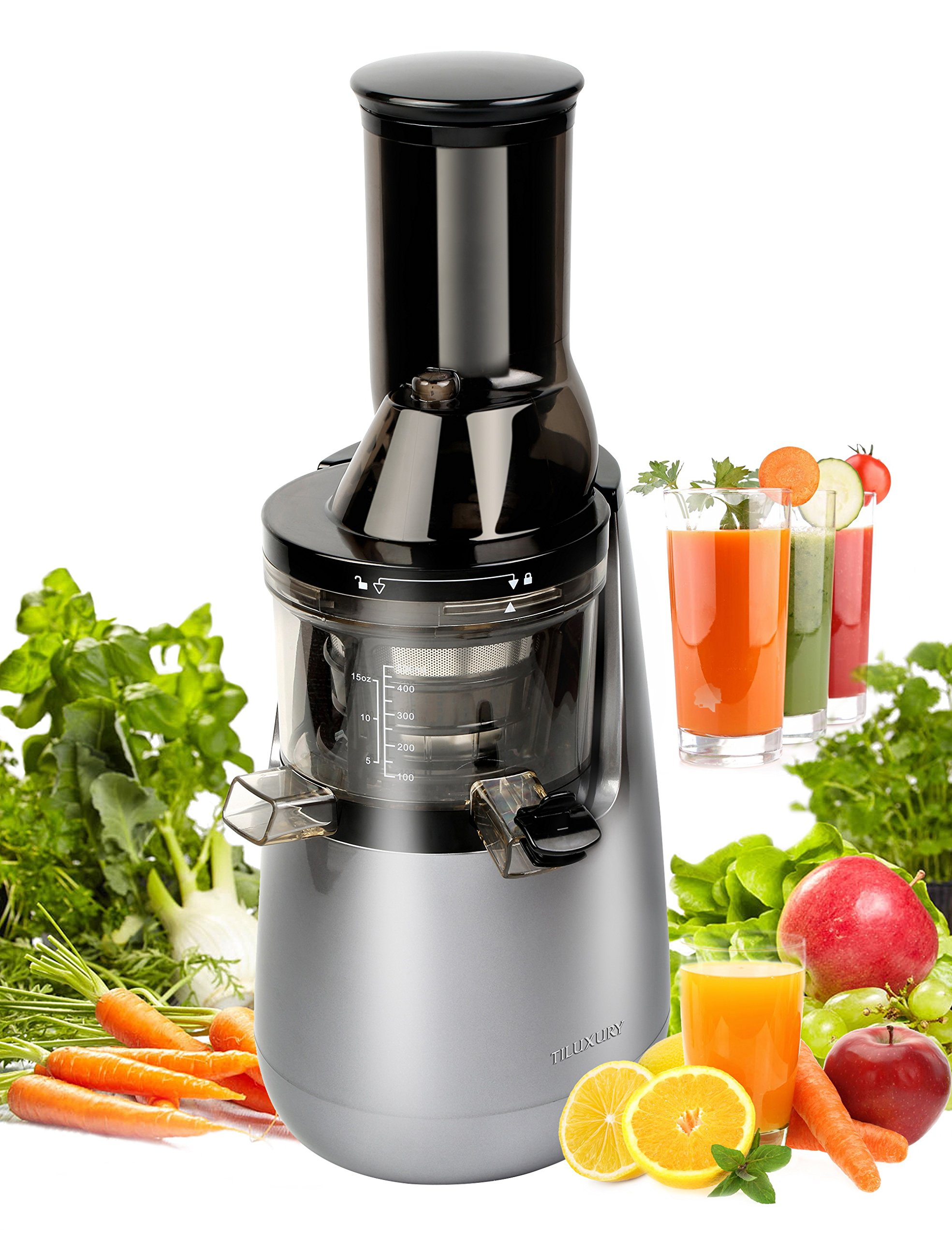Slow Masticating Juicer extractor by Tiluxury with Low Speed Wide Chute Anti-Oxidation Vertical Cold Press Juicer (40 RPMs, 3'' Big Mouth)