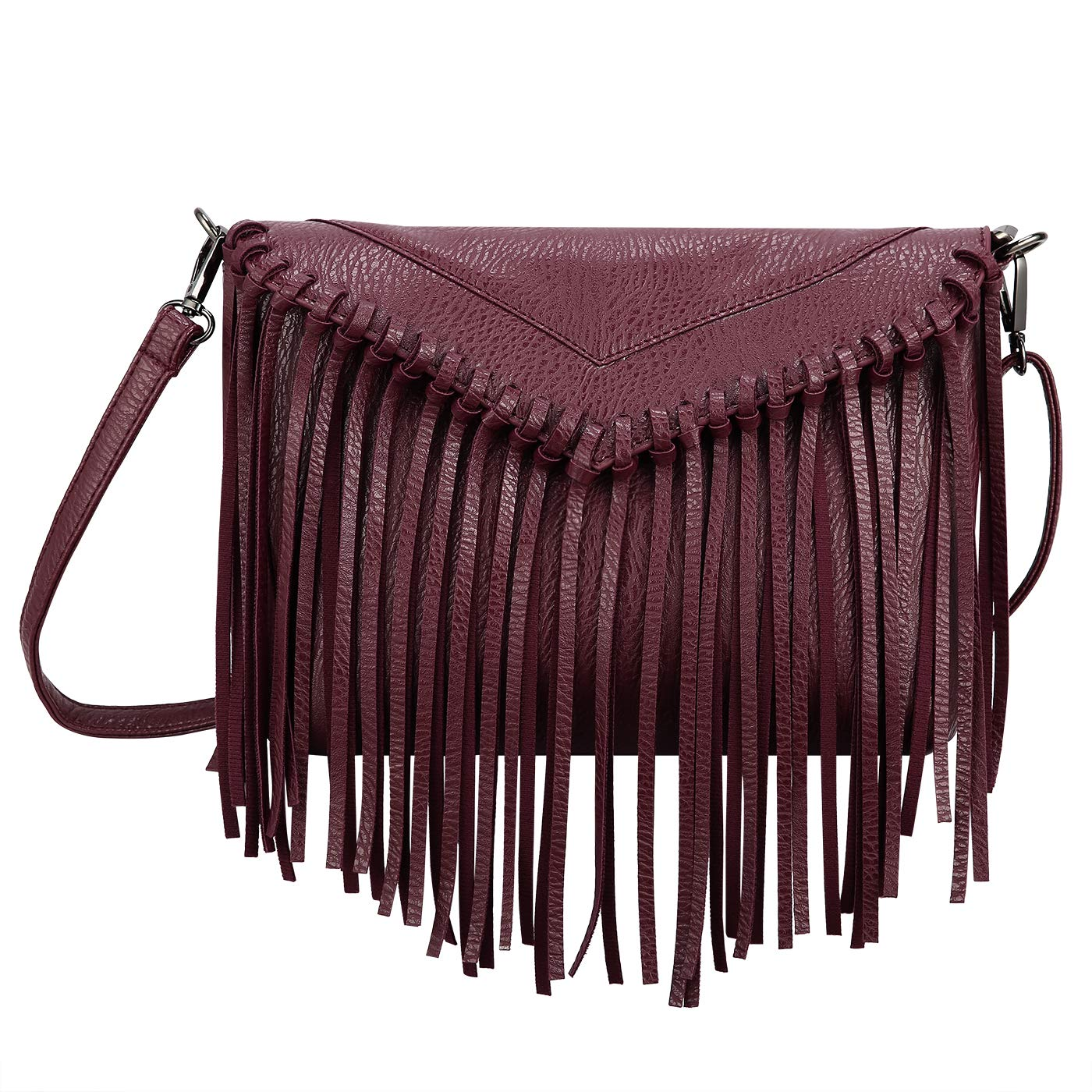 HDE Women's PU Leather Hobo Fringe Crossbody Tassel Purse Vintage Small Handbag by HDE (Image #1)