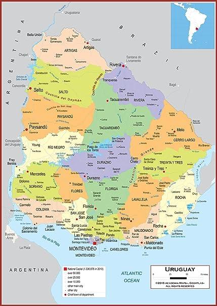 Wissenschaft Karten Wand Karte Von Uruguay Vollstandig