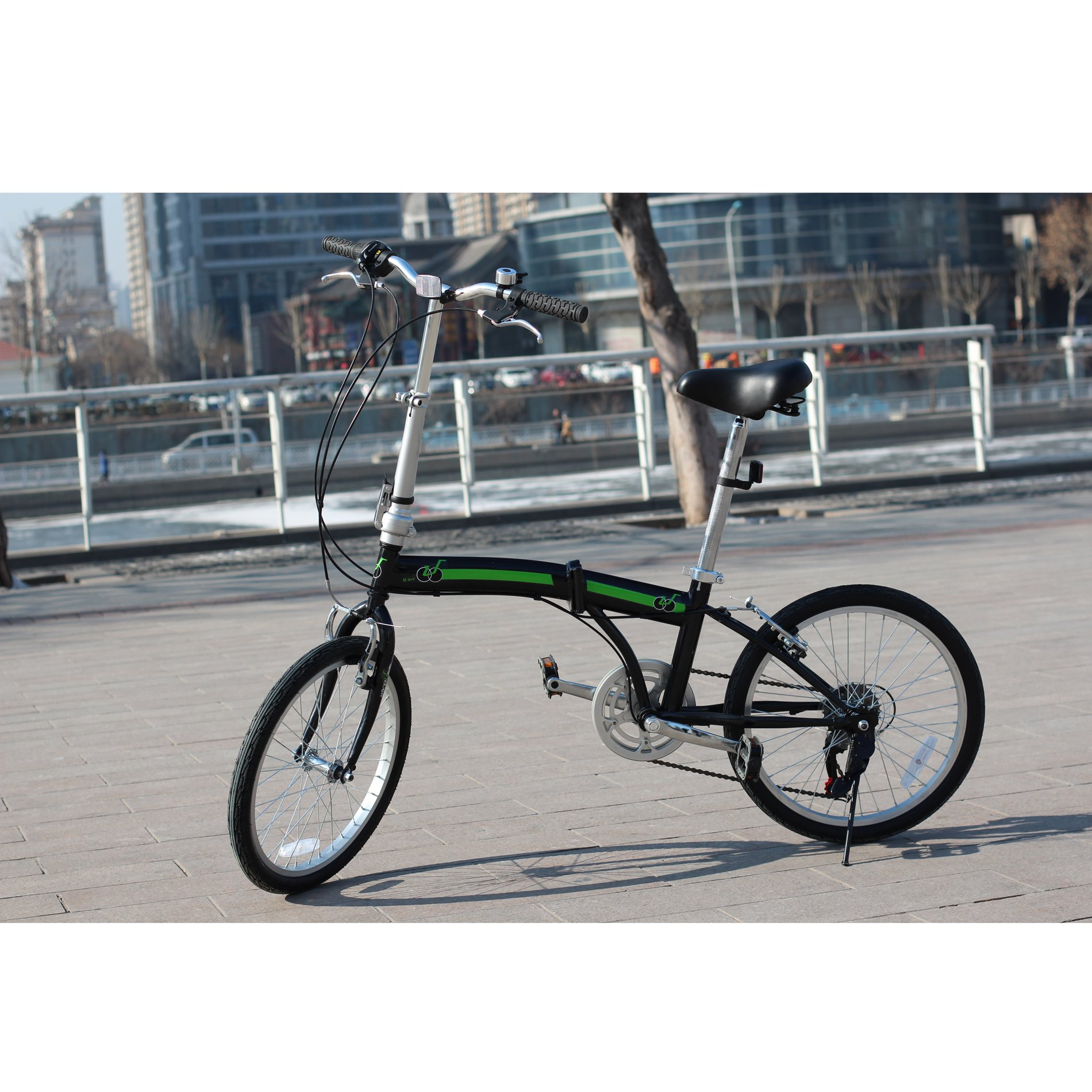 IDS Home Unyousual U Arc Folding City Bike Bicycle 6 Speed Steel Frame Shimano Gear Wanda Tire, Black by IDS Home (Image #3)