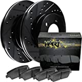 2004-2006 xA,xB Front Black Hart Drilled Slotted Brake Rotors and Ceramic Pads