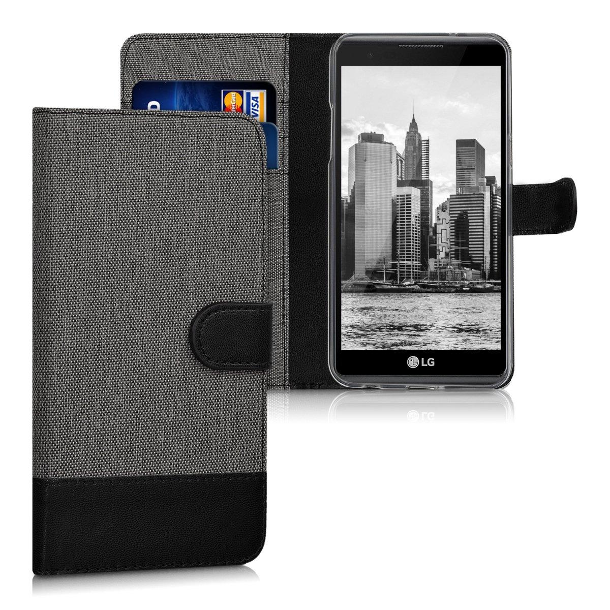 kwmobile Funda para LG X Power - Carcasa de Tela y [Cuero sintético] - con Tapa y [Tarjetero] [Gris/Negro]