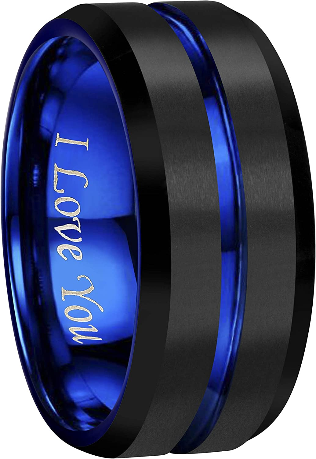 CROWNAL 4mm 6mm 8mm 10mm Blue/Rose Gold Groove Black Matte Finish Tungsten Carbide Wedding Band Ring Engraved I Love You Size 4 to 17