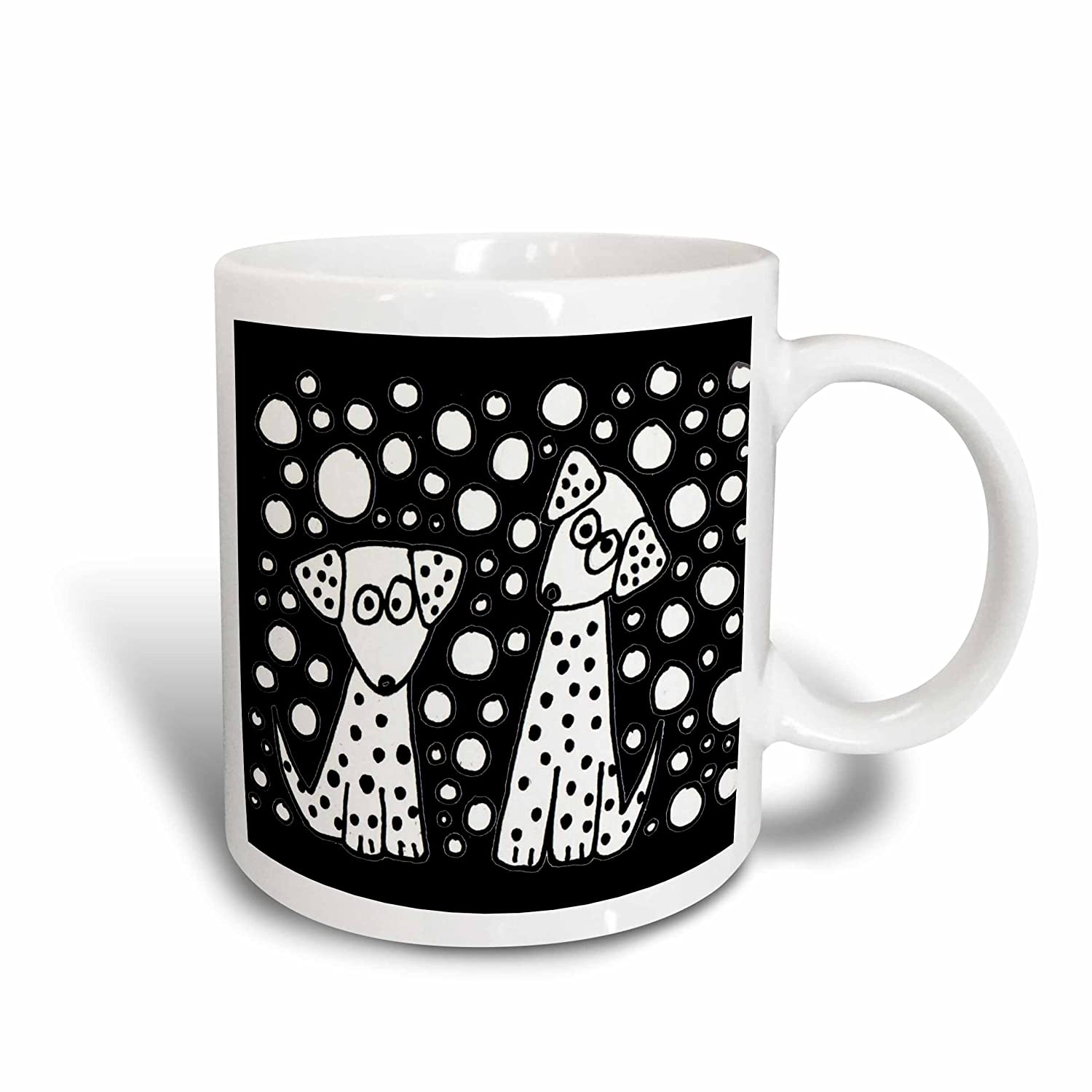 3dRose 201796/_2Funny Black and White Spotted Dogs Abstract Original Ceramic Mug 15 oz