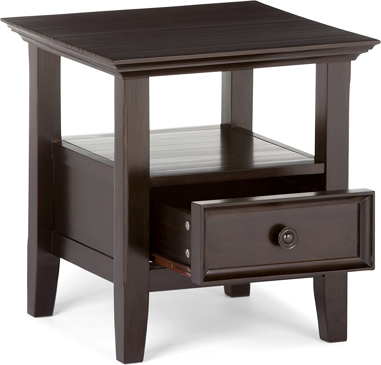 Amazon Com Simpli Home Amherst Solid Wood 19 Inch Wide Square Traditional End Side Table In Dark Brown With Storage 1 Drawer And 1 Shelf For The Living Room And Bedroom Furniture Decor