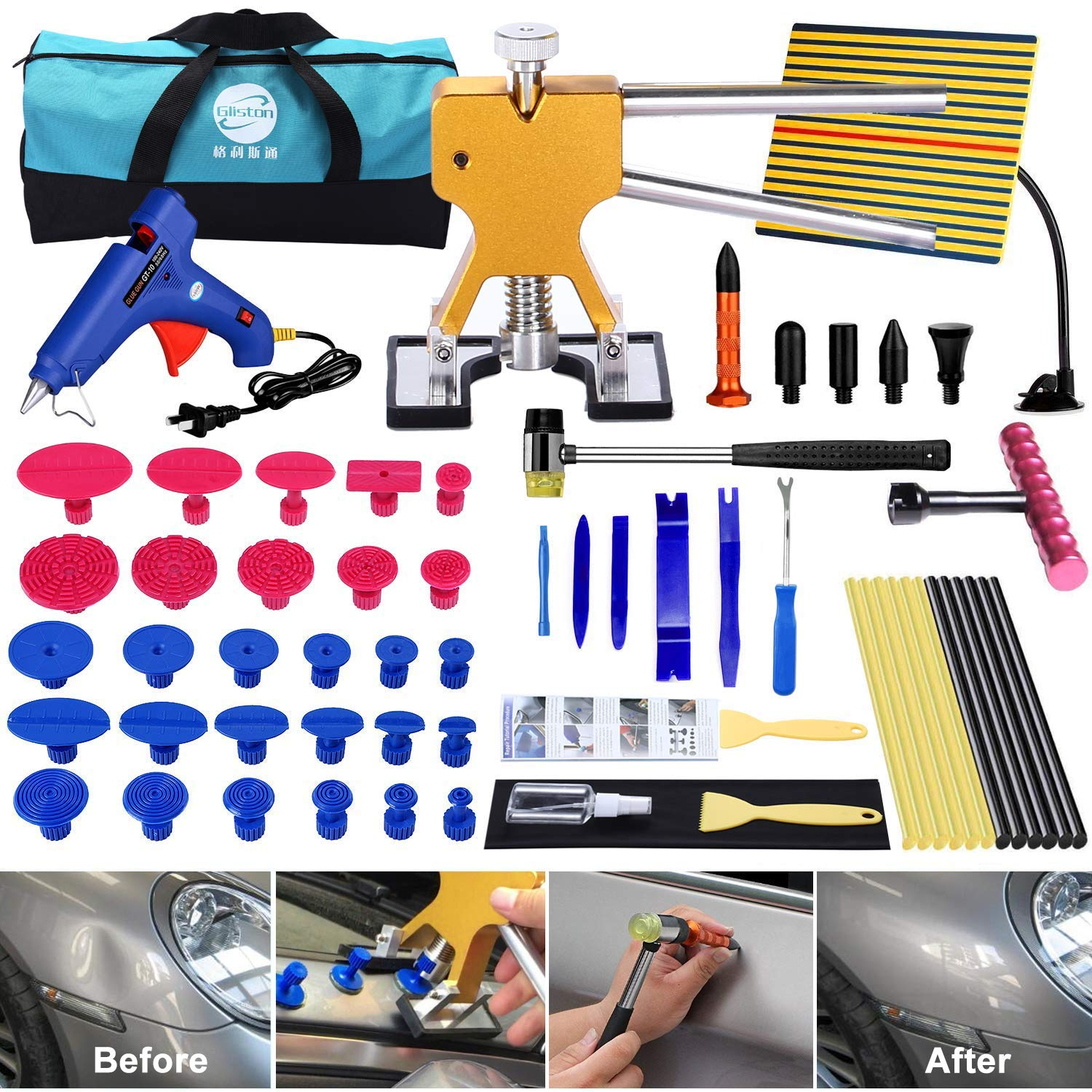 YOOHE 59 PCS Auto Body Paintless Dent Repair Tool Kits – Gold Dent Lifter Dent Puller Kit with LED Light Line Board for Car Dent Removal and Hail Damage by Yoohe (Image #7)