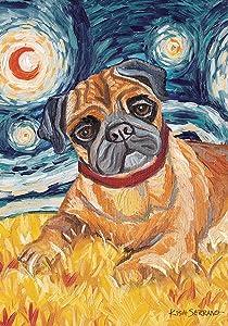 Toland Home Garden Van Growl Fawn Pug 12.5 x 18 Inch Decorative Puppy Dog Portrait Starry Night Garden Flag