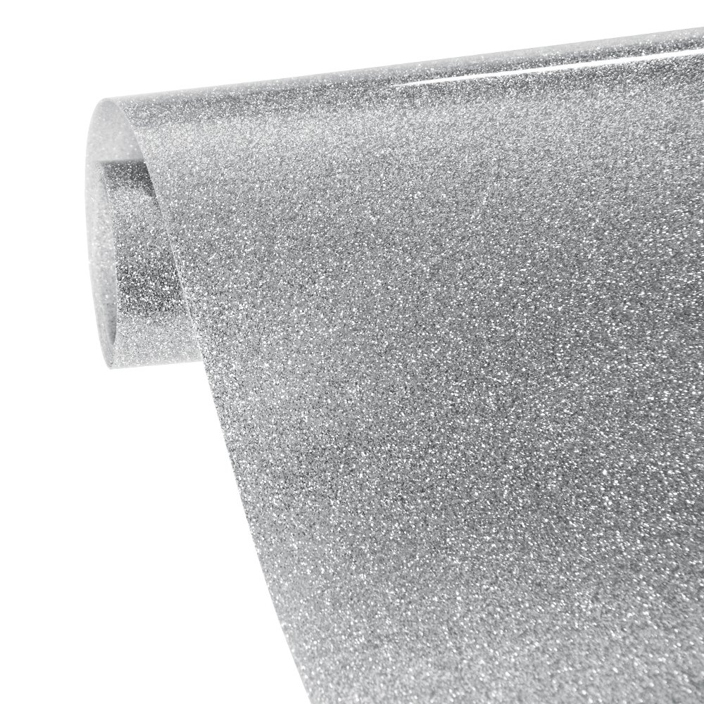Silver Glitter Heat Transfer Vinyl Roll VINYL FROG 10x60in 0.8x5ft