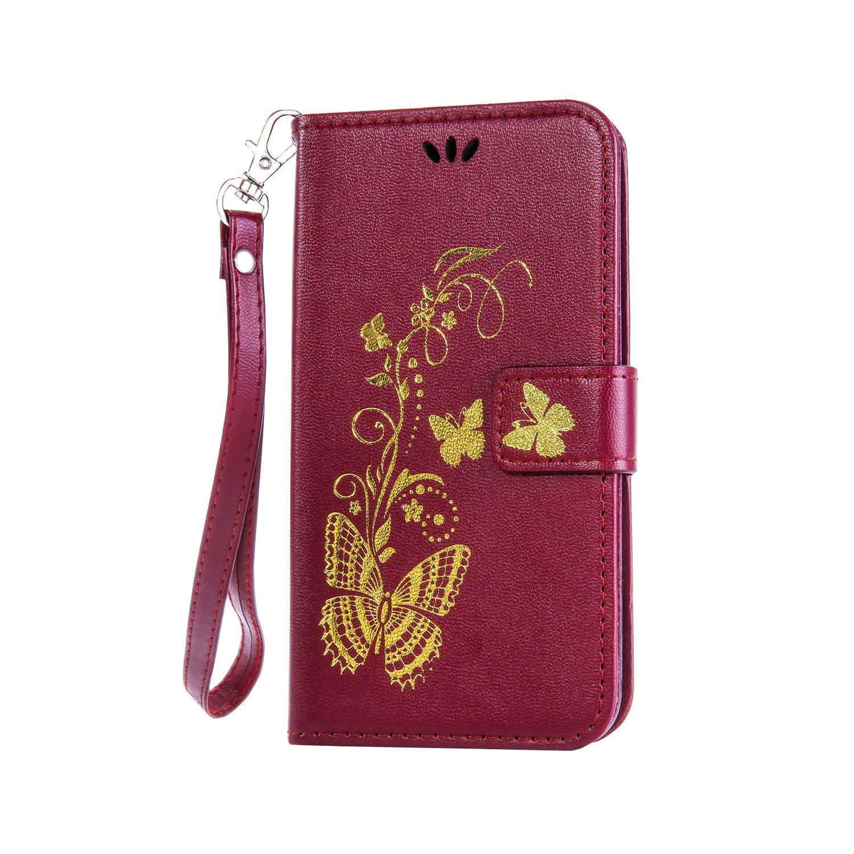 Coque pour Sony Xperia Z2 , Housse en cuir pour Sony Xperia Z2 , Ecoway Bronzante Papillon Fleur imprimé étui en cuir PU Cuir Flip Magnétique Portefeuille Etui Housse de Protection Coque Étui Case Cover avec Stand Support Avec d