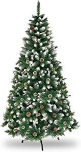Lovinouse 6FT Artificial Christmas Tree, Flocked Snow Xmas Tree with Pine Cones for Festival Holiday Decor, Green