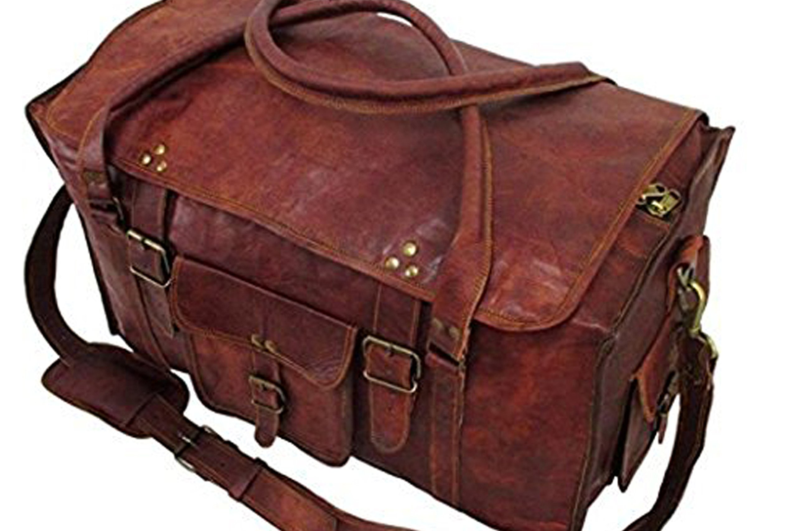 Silkroute craft 21'' Men & Women Retro Style Carry on Luggage Flap Duffel Leather Bag by Silkroute Craft
