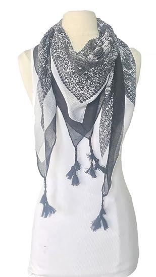 116c50ea6 Paisley Fringe-Trim Square Scarf (BLACK) at Amazon Women's Clothing store: