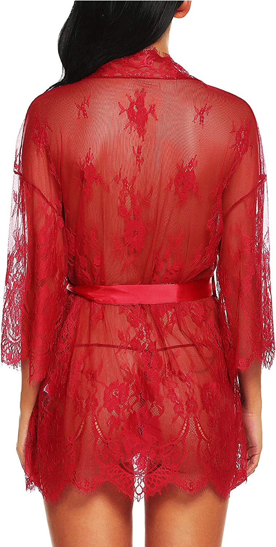 RSLOVE Womens Lace Kimono Robe Lingerie Eyelash Babydoll Sheer Nightwear