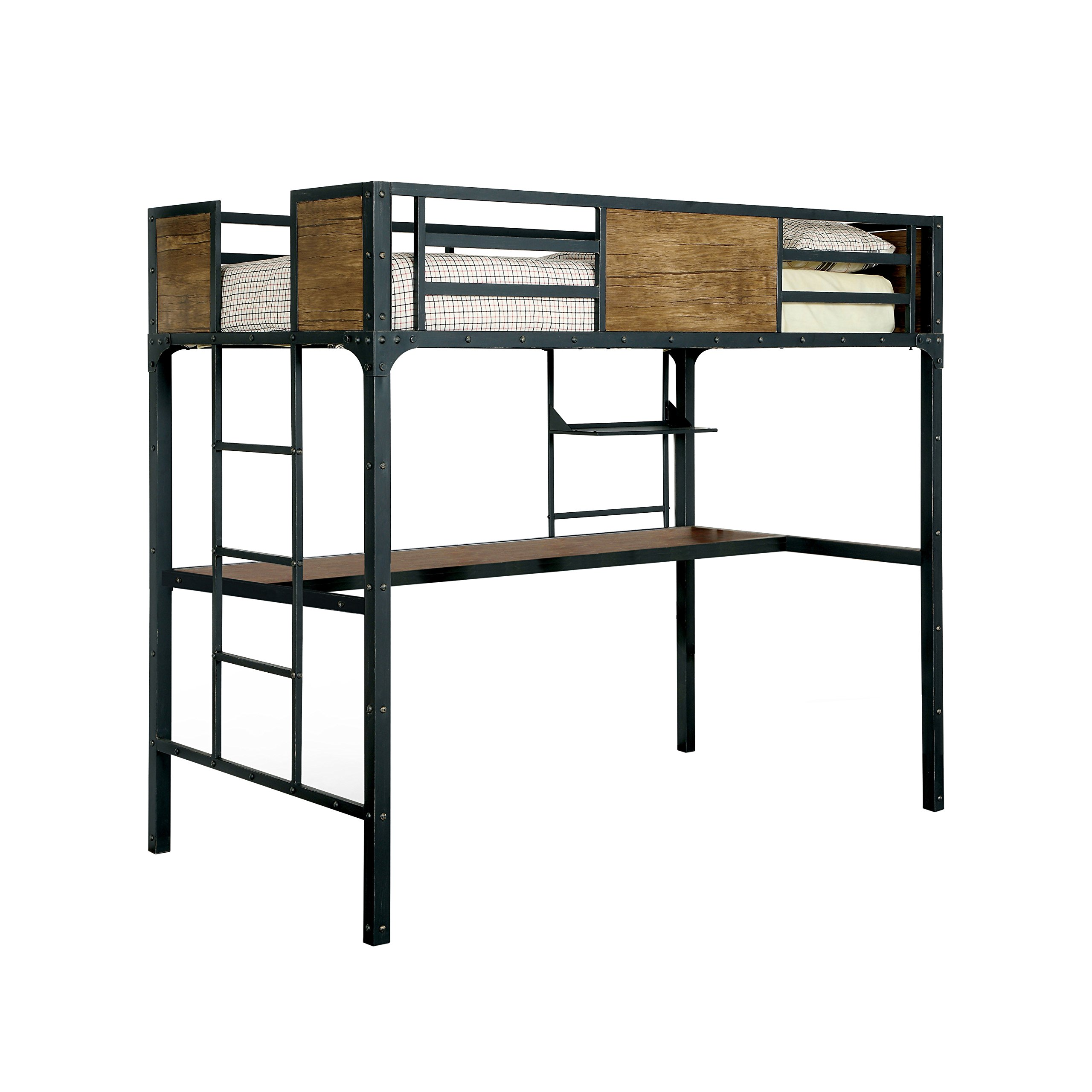 HOMES: Inside + Out ioHOMES Megyver Two over Level Industrial Bunk Bed, Twin over Desk, Black