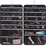 DIOMMELL Hanging Jewelry Organizer 47 Pockets with Zipper for Earrings Necklace Bracelet Ring Accessory Display Storage Bag T