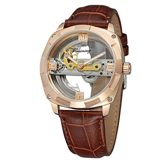 Forsining correa de piel de esqueleto automático hombre marca diseño único Fashion Casual relojes de pulsera.: Amazon.es: Relojes