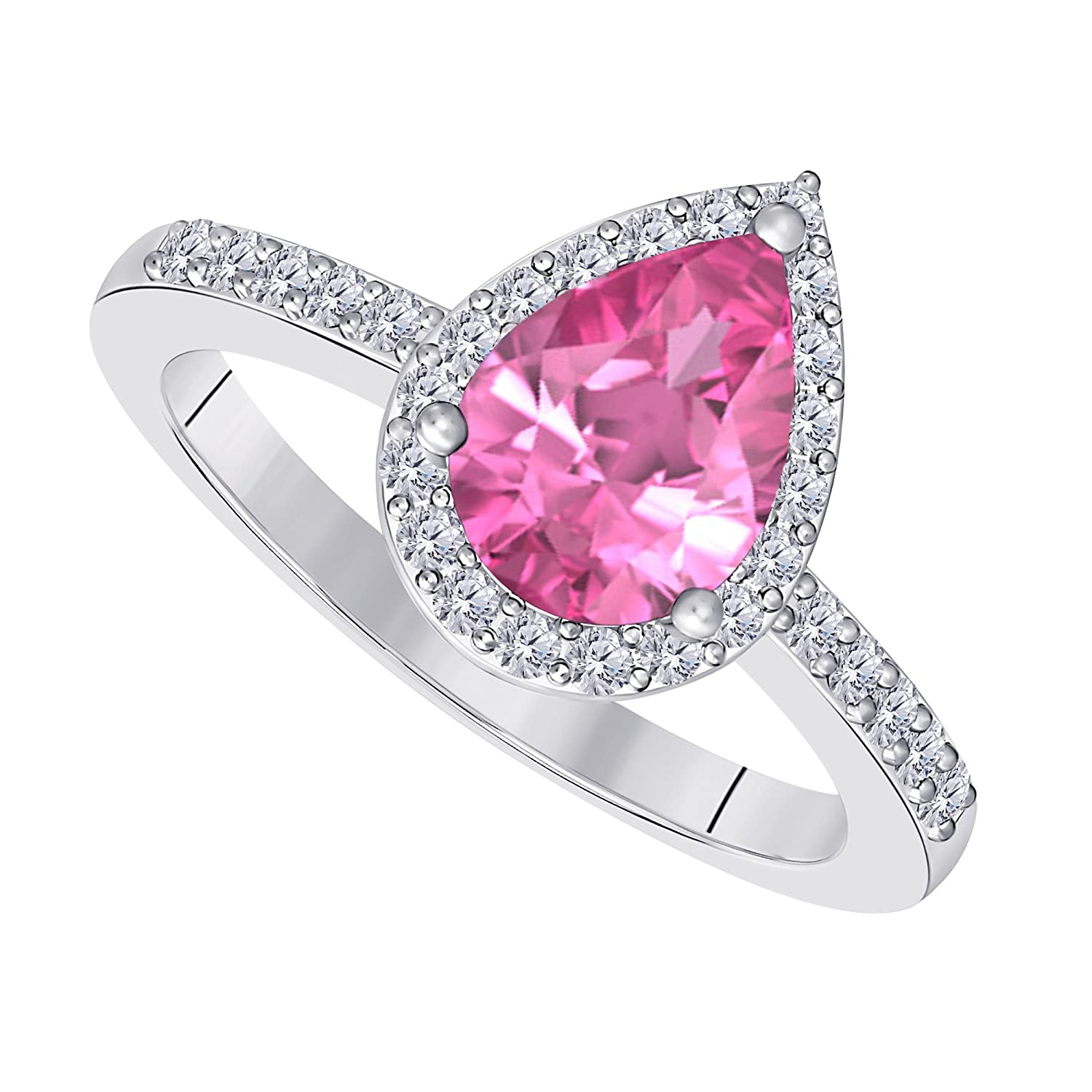 3 Carat Pear Shape Lab Created Pink Sapphire Cubic Zirconia Halo Style Rhodium Over Alloy Wedding Engagement Ring Womens Jewelry