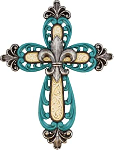 Ornate Fleur De Lis Decor Wall Mount Cross - Scrolly Art Details - Teal and White with Silver Accents