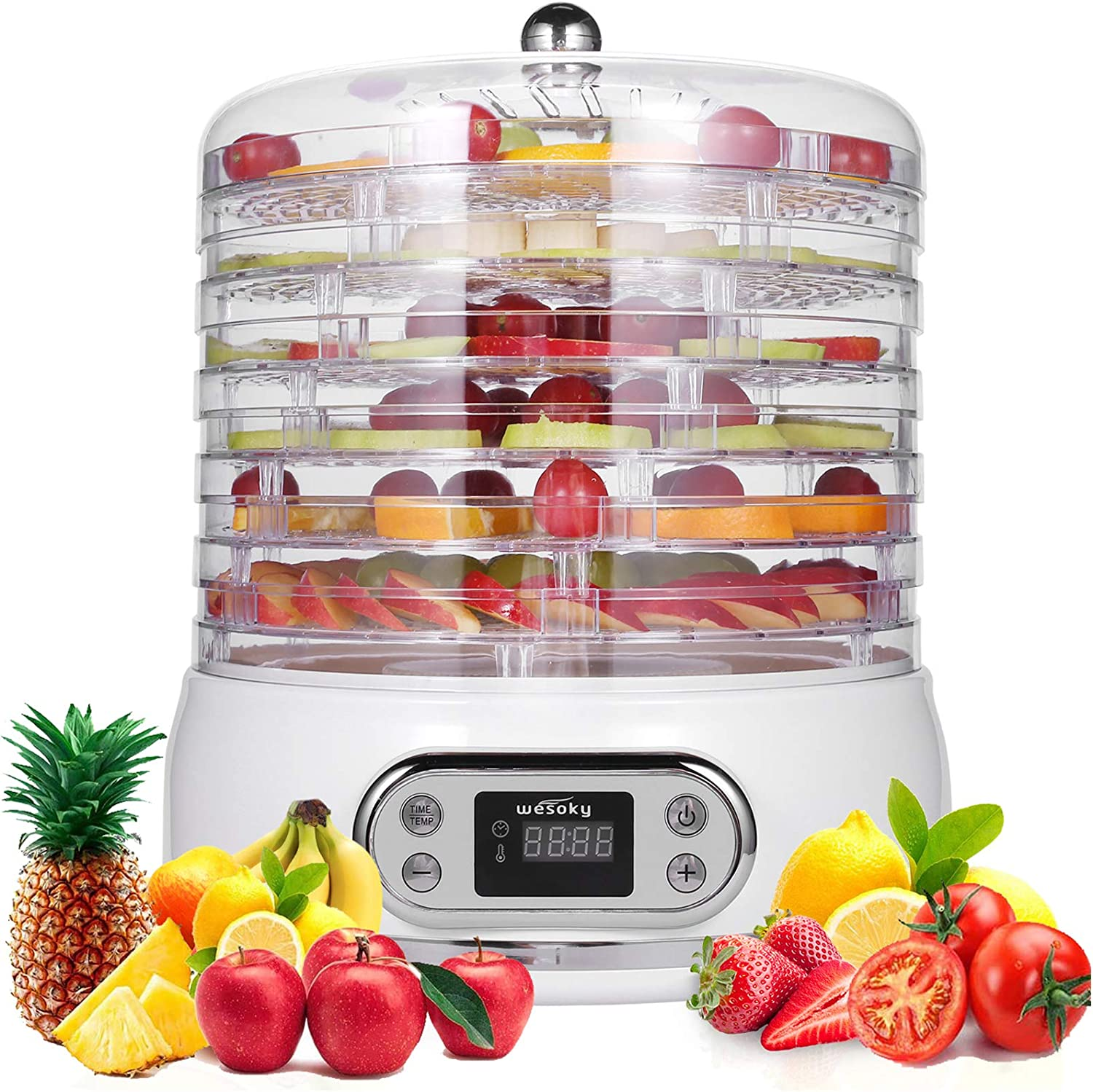 Food Dehydrator,6 Tray Dehydrator for Food/Beef Jerky/Meat/Fruit/Dog Treats/Herbs/Vegetable, 400W Food Fruit Dehydrator with Digital Timer&Temperature Control, Herb Jerky Food Dehydrator BPA Free