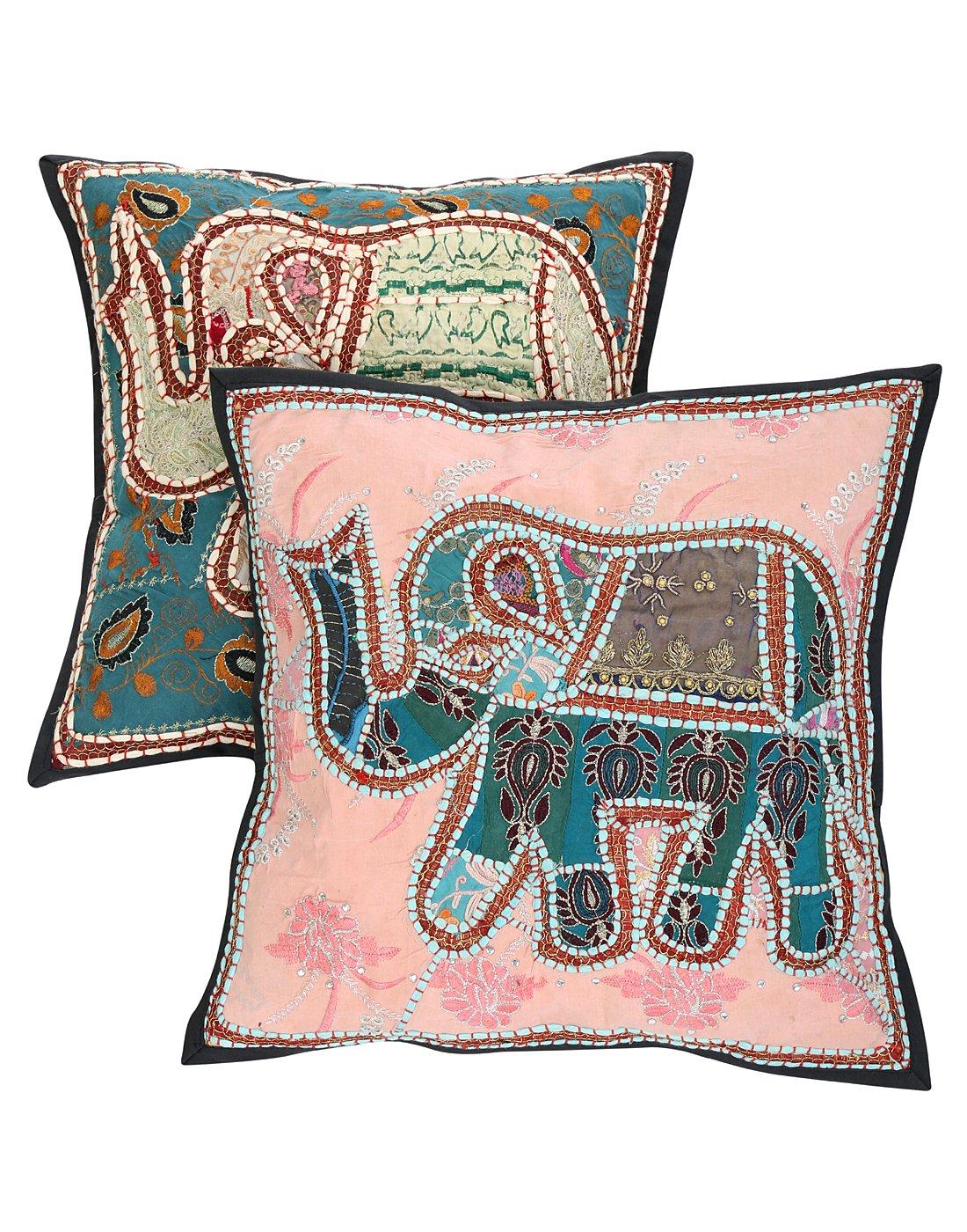 Rajrang Traditioneller Kissenbezug Elefant Handarbeit Baumwolle blau Baumwolle Handarbeit Kissenbezug 2 St. 55676d