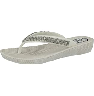 269517a1b877 Ladies ELLA S1 Diamante Toe Post Flat Low Wedge Jelly Flip Flop Summer  Sandals Size 3