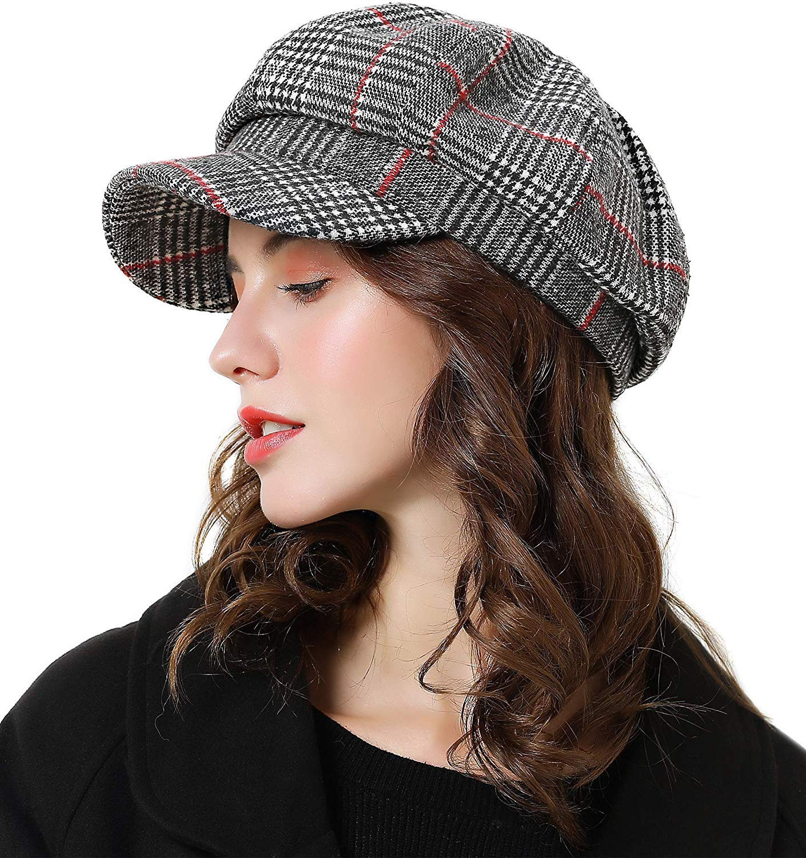 Womens Newsboy Cap Wool Visor Cabbie Fiddler Winter Spring Octagonal Paperboy Hat Girls Gift Grey
