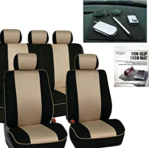 FH Group FH-FB063115 Full Set Sports Fabric Car Seat Covers Beige/Black, Airbag Compatible and Split Bench FH1002 Non-Slip Dash Grip Pad - Fit Most Car, Truck, SUV, or Van