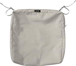"Classic Accessories Ravenna Rectangular Patio Seat Cushion Slip Cover, Mushroom, 21"" x 19"" x 3"""