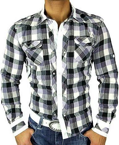 Golden Horn Hombre de Cuadros de Camisa Slim Fit Polo Camisa ...
