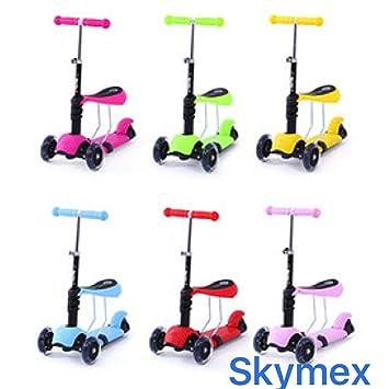 SKYMEX - Patinete 3 en 1 para niños de todas las edades, 1-6, 6-10, para regalo, mini-maxi, con luces intermitentes