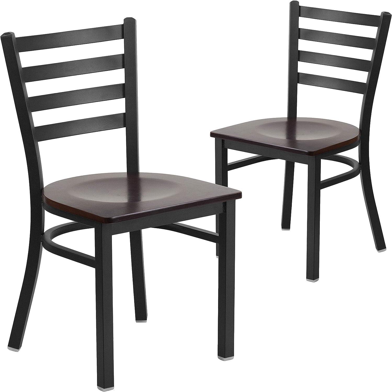 Flash Furniture 2 Pk. HERCULES Series Black Ladder Back Metal Restaurant Chair - Walnut Wood Seat